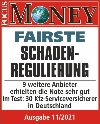 Qualitätssiegel Focus Money - Fairste Schadenregulierung